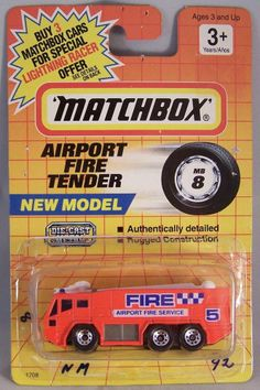 ctd-Matchbox 1990's #008 Airport Fire Tender-neonred/marker/BUY3CARD