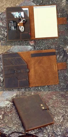 This leather business portfolio is special designed for TOPS x inch legal pad writing pads ,made from full grain leather , we hand sew this portfolio by saddle stitch technique , the rustic Leather Book Covers, Leather Books, Leather Notebook, Leather Gifts, Leather Journal, Leather Craft, Leather Wallet, Leather Bag, Business Folder
