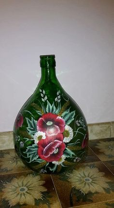 Bottle Art, Bottle Crafts, Vase, Stencil, Diy, Painting, Home Decor, Ideas, Glass Bottles