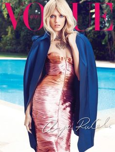 2nd cover of Anja Rubik in Burberry Prorsum by Marcin Tyszka for Vogue Mexico, May 2013