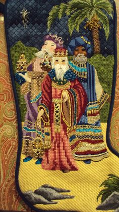 Great stitch choices -- stitched by sylvia termes via the point of it all. Very beautiful Needlepoint Christmas Stockings, Xmas Stockings, Christmas Embroidery, Christmas Knitting, Needlepoint Stitches, Needlepoint Canvases, Needlework, Needlepoint Designs, Cross Stitching