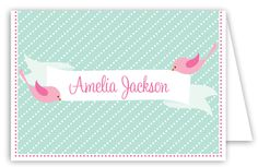 Sweet Tweets Folded Note Card #PersonalizedStationery  #ThankYou Personalized Stationery, Custom Invitations, Note Cards, Peppermint, Notes, Sweet, Prints, Index Cards, Mint