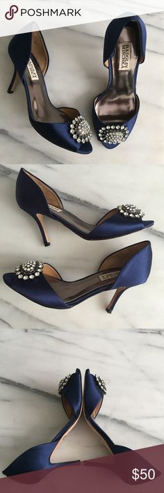 BADGLEY MISCHKA Navy Blue Satin D'Orsay Pump Elegant and glamorous, Badgley Mischka embellished peep-toe heels. Signs of wear shown in pictures. Heel height is approximately 3 inches. Badgley Mischka Shoes