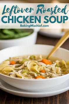 This Chicken Carcass Soup is a great way to use up leftovers from a roasted or rotisserie chicken. It's from-scratch chicken noodle soup that is easy, warming, and completely delicious. Chicken Carcass Soup, Roast Chicken Noodle Soup, Rotisserie Chicken Soup, Homemade Chicken Soup, Chicken Soup Recipes, Roasted Chicken, Baked Chicken, Chicken Soup From Bones, Stuffed Chicken