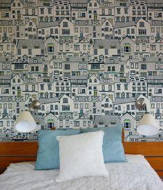 Coastal Cottages wallpaper. £120.00, via Etsy.