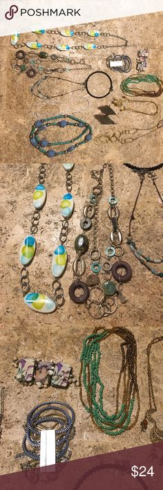 Jewelry LOT 12 pcs perfect for spring! Jewelry collection perfect for spring! Features two bracelets, one chain-link pair of earrings with dangling stones, eight necklaces of different links, some can be doubled up. Some pieces look a little tarnished and need to be polished up with a soft cloth. No stones are missing! The chunky bracelet with zippers in chains is from Jessica Simpson, the chain link earrings or Kenneth Cole, and then the others are varied. Some may be from Chicos and the…