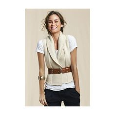 Women's Shawl Collar Vest | Lands' End Canvas ($21) found on Polyvore