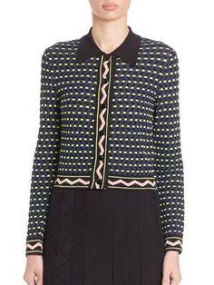 M MISSONI Grid Stitch Button Cardigan. #mmissoni #cloth #cardigan