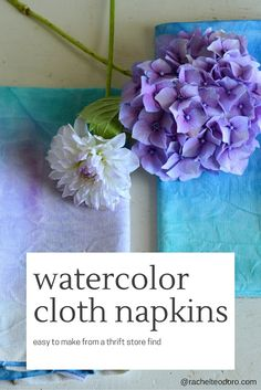 Using plain cloth napkins from the thrift store to create handmade watercolor napkins in any color palate for your next event. Handmade Crafts, Easy Crafts, Crafts For Kids, Diy Craft Projects, Craft Ideas, Diy Ideas, Decor Ideas, Fibre And Fabric, Easy Crochet Patterns