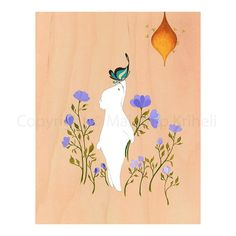 Hidden Garden  art print featuring bear bees butterfly by malathip, $20.00