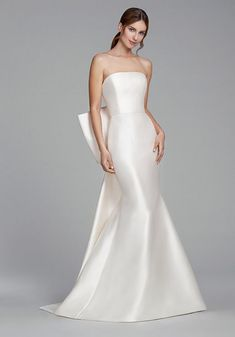 Wedding Dress Lace, Elegant Satin Strapless Neckline Mermaid Wedding Dresses With Bowknot, Unique and inexpensive wedding gowns that wow! Shop our wedding dresses online and in-store for top styles and trendy bridal looks. Western Wedding Dresses, Princess Wedding Dresses, Boho Wedding Dress, Bridal Dresses, Mermaid Wedding, Lace Wedding, Princess Bridal, Lace Mermaid, Wedding Veils