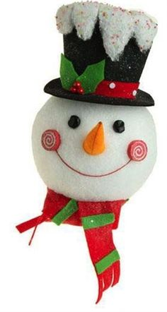 RAZ Flat Snowman Head Christmas Decoration - BLACK HAT $17.99 -  - Available at www.cgpackaging.com