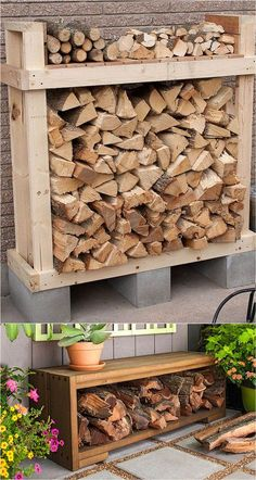 You want to build a outdoor firewood rack? Here is a some firewood storage and creative firewood rack ideas for outdoors. Lots of great building tutorials and DIY-friendly inspirations! Outdoor Firewood Rack, Firewood Holder, Firewood Shed, Wood Storage Bench, Diy Bench, Outdoor Storage, Indoor Firewood Storage, Cool Fire Pits, Diy Fire Pit