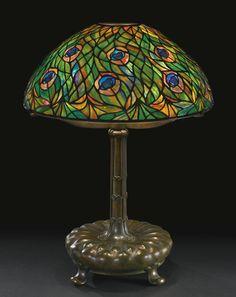 "TIFFANY STUDIOS ""PEACOCK"" TABLE LAMP circa 1910"