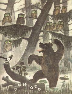 illustration, animal, bird, owl, bear, mushroom, tree, woodland, naive. Yuri Vasnetsov