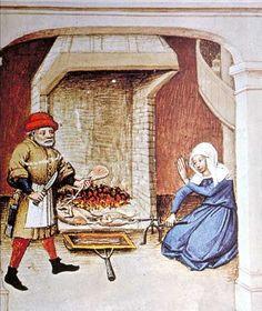 Dans l'équipement de base de la cuisine, on trouve le chaudron, les pots et marmites de terre et la poêle de fer, manifestant trois types de cuisson : l'ébullition, la cuisson lente à l'étouffée et la friture. Grils et broches n'apparaissent que dans les milieux urbains ou dans les châteaux.