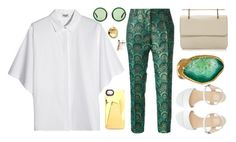 """""""Green Luxury"""" by themja ❤ liked on Polyvore featuring Kenzo, Trēs Chic S.A.R.T.O.R.I.A.L., American Apparel, Nadri, M2Malletier, Charlene K, The Row, Marc by Marc Jacobs, gold and GREEN"""
