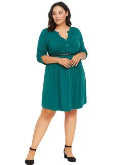 6d4a36de3c23 V Neck Button Down Plus Size Dress With Belt_Plus size Dress_Plus Size  Clothing_Sexy Lingeire | Cheap Plus Size Lingerie At Wholesale Price