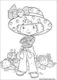 coloriage charlotte avec toutes les fraises ramassées