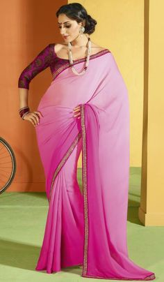 Shaded Pink Chiffon Embroidered Designer Saree    Product Code : G3-LS8382  Price : INR RS 2376