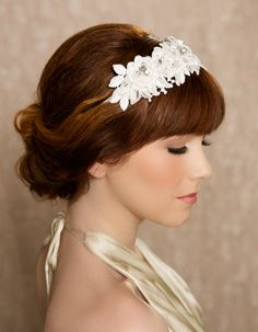 KAYLA Ivory Hair Flowers Headband from Gilded Shadows