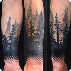 Instagram media by alex_tattooer - Finished this today, sorry for the glare. Trees healed dots fresh. #tattoo #tattoos #pinetrees #pinetree #tree #trees #blackngrey #blackandgrey #dots #fading #arm #armtattoo #guyswithtattoos #ink #inked #art
