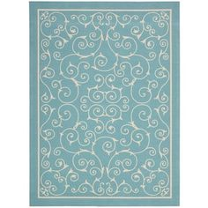 Nourison Home and Garden Light Blue Rug (4'3 x 6'3)