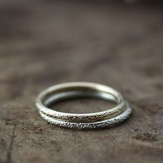 14k gold ring, stardust textured band ,eco friendly, wedding band, stacking ring. $136,00, via Etsy.