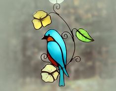 stained glass bird on branch with flowers Stained Glass Ornaments, Stained Glass Birds, Stained Glass Suncatchers, Stained Glass Crafts, Stained Glass Panels, Stained Glass Patterns Free, Stained Glass Designs, L'art Du Vitrail, Glass Painting Designs