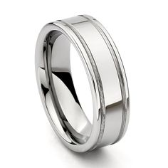 7mm Flat Grooved Men's Tungsten Wedding Band - Size 9.5. Free Exchange. Scratch Resistant. 100% Cobalt and Nickle Free. Comfort-Fit. Promptly Packaged with Free Gift Box and Gift Bag.