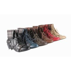 Womens round toe lace up ankle bootie with PU upper and flip over top of Burberry design fabric lining
