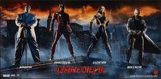 "Banner poster for ""Daredevil"" - 2003.  Starring  Michael Clarke Duncan, Ben Affleck, Jennifer Garner, and Colin Farrell."