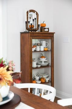 Fall Decorating in My Dining Room #fall #decor #decorating #diningroom #styling Vintage Sideboard, Vintage Fall, Fall Candles, Trim Color, Vintage Chairs, Fall Decorating, Wood Cabinets, Autumn Inspiration, Seasonal Decor