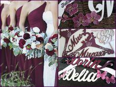 Umerase nunta personalizate - bordo  Wedding hangers - Bordeaux https://www.facebook.com/ArtmoniaWeddingDecorations/