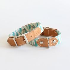Leather dog collars, handmade with modern geometric print fabric. Unique dog collars handmade in the UK.