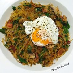 ✨Made myself an awesome brunch❗️ Just finished coming home from Turbo with the family and I was super hungry. ❤️ Spaghetti squash with uncured bacon, garlic, onions, mushrooms, spinach, basil and a poached egg on top.✨This meal will for sure be made again https://www.facebook.com/TeamJERF
