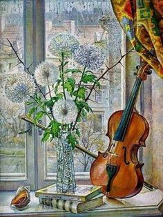 Musical Instruments Drawing, Violin Art, Music Drawings, Window Art, Window Picture, Art Themes, Arte Floral, Insta Art, Still Life