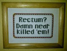 Pattern Funny Cross Stitch Rectum Damn Near Killed 'Em Sampler Rude Humorous Subversive DIY PDF Original