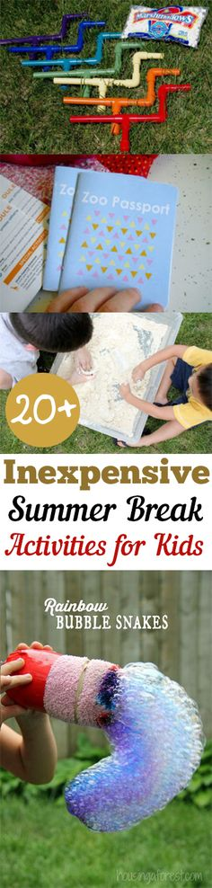 20 Inexpensive Summer Break Activities for Kids. Ive put together a list of inexpensive summer break activities for the entire family! With this list you can spend quality time together as a family without breaking the bank. Summer Fun For Kids, Summer Activities For Kids, Craft Activities, Diy For Kids, Crafts For Kids, Summer Games, Family Activities, Indoor Activities, Holiday Activities