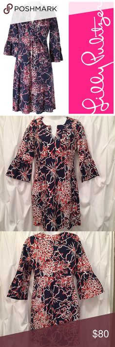 """EC Lilly Pulitzer Twyla Dress Lines and Vines EC Lilly Pulitzer Jubilee Lines and Vines Twyla dress Size XS.  Silk blend.  Bell Sleeves.  Notice the tunic neck line. Original retail price $278.00 Measures approx 37"""" long and 14"""" from under arm to under arm (one way, laying flat). Side zipper. Lined.  The LP tag has been cut a bit does not alter dress by any means. Buzz to the PINK HIVE for super cute cute listings. Pet and smoke free closet. Beeee sure to like and follow PINK HIVE for really…"""