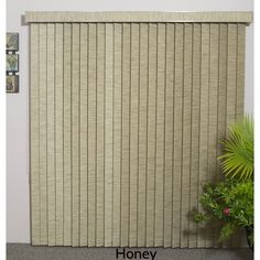 ZNL Vertical Blinds - Edinborough 3 1/2 Free-Hang Fabric (36 Inches Wide x 5 Custom Lengths) with Valan (Honey (36 x 93)), Brown