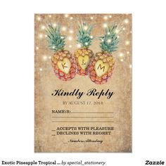 Exotic Pineapple Tropical Wedding RSVP