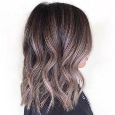 dark brown hair with ash brown highlights