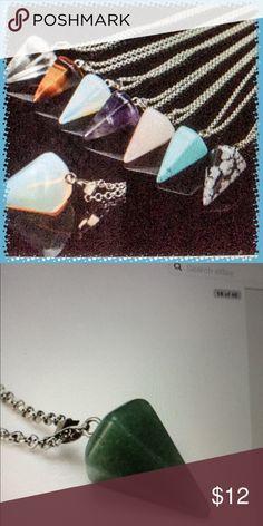 "ADVENTURINE QUARTZ NECKLACE Adventurine quartz stone pendant of about 1"" on a silver tone chain of 18"". Jewelry Necklaces"