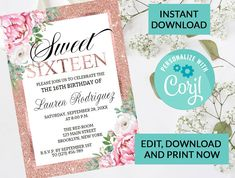 Glitter and Flowers Sweet 16 Invitation #52 | Digital INSTANT DOWNLOAD Editable Invite | Rose Gold Sparkle Glitter | Pink Florals by PurplePaperGraphics on Etsy Hanging Mason Jars, Ball Mason Jars, Sparkles Glitter, Gold Sparkle, Sweet 16 Invitations, Party Invitations, Camera Clip Art, Sweet 16 Parties, Photo Center