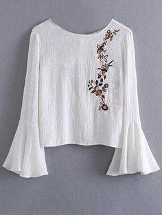 Campana de la manga blusa bordada floral
