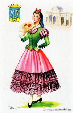 Today is the Festivity of Saint Isidro (Isidore the Laborer), patron of Madrid, so have some traditional costumes you can wear if you go to the verbena at the Saint's prairie (which of course is now a park…). To the left, the goyesque style from the 18th century. To the right, chulapos and chulapas in a style which became extremely popular among the working classes of Madrid during the last decades of the 19th century. Madrid has a third, lesser known traditional costume, the castilian one.