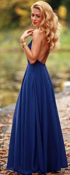 Navy Backless Gown Fall Party Style Inspo by Fashion Painted Dreams