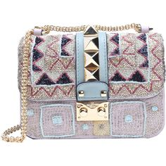 Valentino Pink And Gold Beaded Leather 'rockstud' Chain Shoulder Bag... (12,000 SAR) ❤ liked on Polyvore featuring bags, handbags, shoulder bags, hand bags, man shoulder bag, purse shoulder bag, handbags shoulder bags and chain shoulder bag