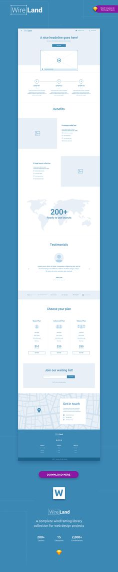 Wireland – is a Complete Wireframing Library Collection optimized to structure web design projects really fast and easy while getting great results. This library consist on 190+ ready-to-use layout sections divided into 15 popular content categories.